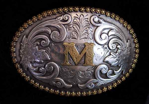"Nocona Western Cowboy Cowgirl Initial ""M"" Oval Belt Buckle front"
