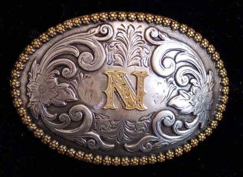 "Nocona Western Cowboy Cowgirl Initial ""N"" Oval Belt Buckle front"