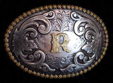 "Nocona Western Cowboy Cowgirl Initial ""R"" Oval Belt Buckle front"