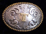 "Nocona Western Cowboy Cowgirl Initial ""T"" Oval Belt Buckle front"