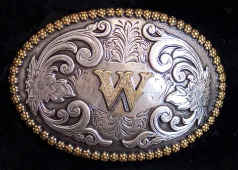 "Nocona Western Cowboy Cowgirl Initial ""W"" Oval Belt Buckle front"