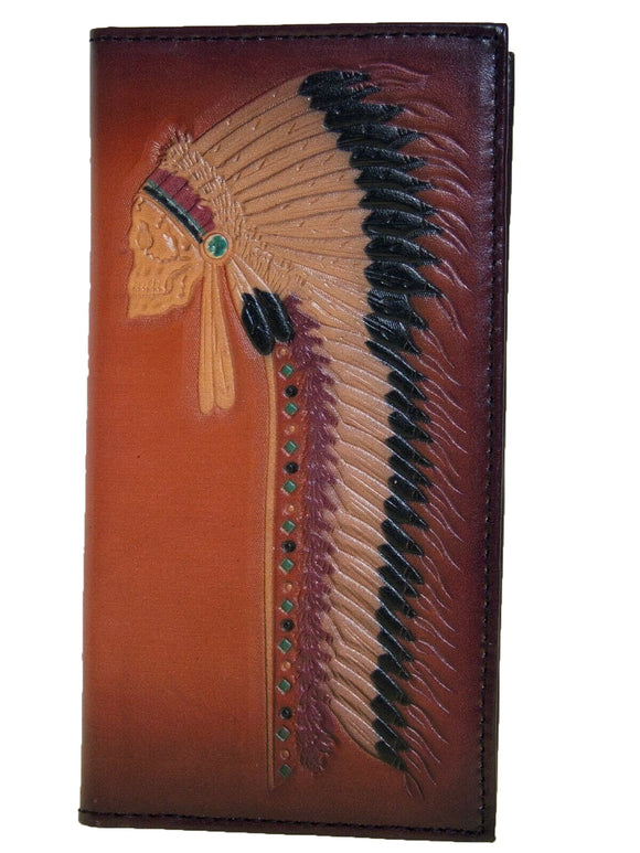 Ariat Mens Western Rodeo Wallet Chief Skull with Headdress 11 Card