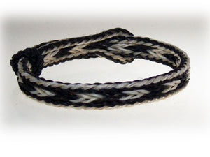 Braided Horsehair Bracelet White/Black with White Border front