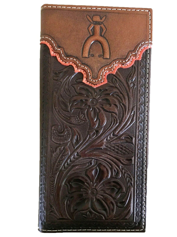HOOey Mens Western Rodeo Wallet Embossed Floral PUNCHY logo Brown Orange