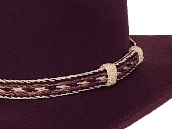 Horse Hair Cowboy Hat Band  Black, Brown, White Longmire