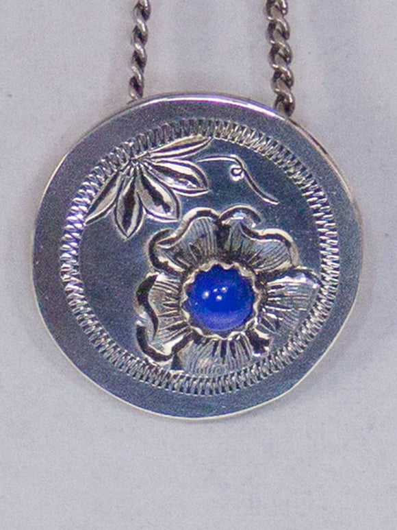 Western Sterling Silver Earring-Necklace Set/ Lapis/Chain Included/Handmade front