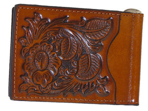 Money Clip Credit Card Holder Tooled Pro Series Brown Nocona Wallets