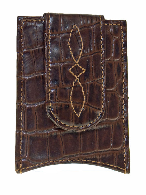 Nocona Mens Western Money Clip Credit Card Holder/Gator Look/Dark Brown front