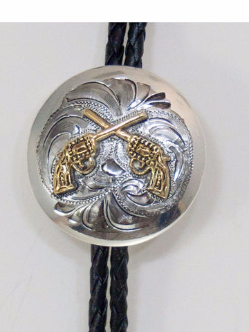 Western Bolo Tie 1-1/2 Inch/ Crossed Pistols/ Silver, Gold detail