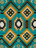 Southwest #1 Teal/Gold 100% Silk Wild Rags detail