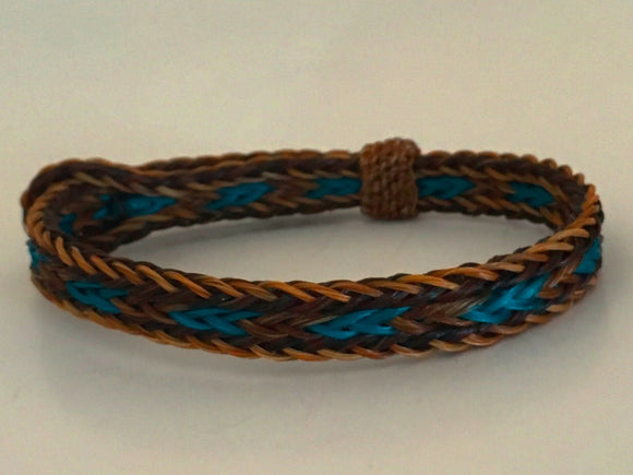 Horse Hair Bracelet One Size Fits All  Brown/Turquoise
