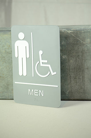 "6"" x 9"" Men's-Accessible Restroom Sign"