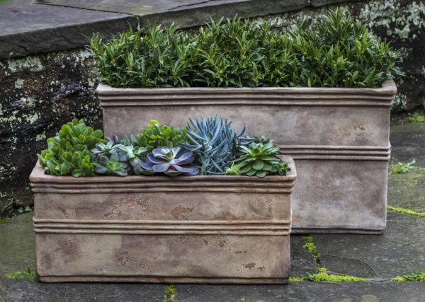 Campania International Antico Rectangular Planter - Set of 2