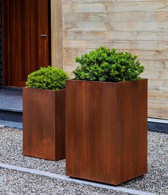 Campania International Steel Tall Cube Planter - Set of 2