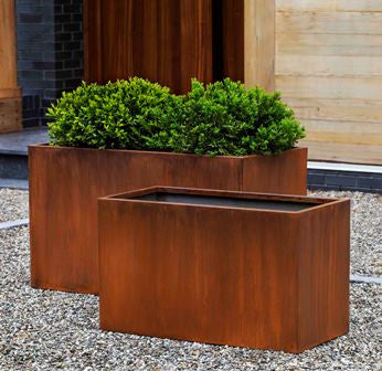Campania International Steel Box Planter - Set of 2