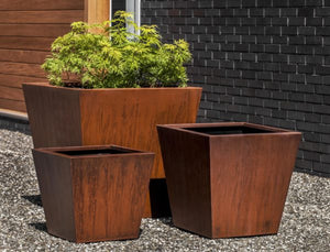 Campania International Steel Tapered Planter - Set of 3
