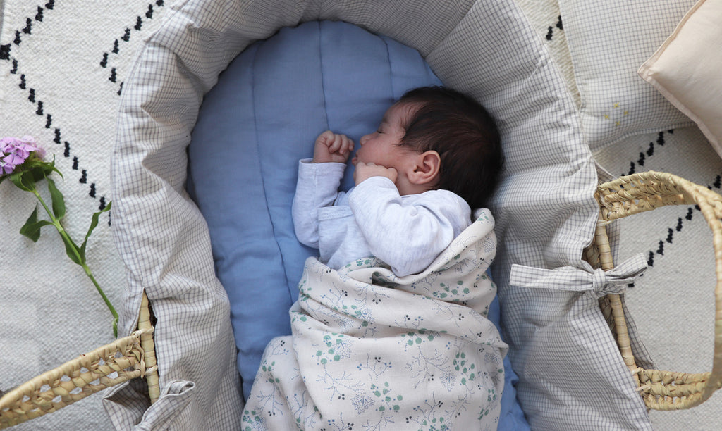 Moses Basket Liner, fitted sheet + blankets
