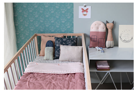 Ikat check girls nursery by Camomile london
