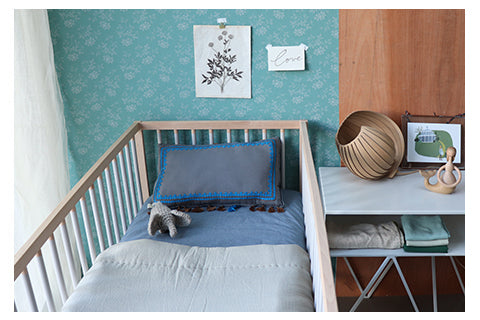 Mini check blue unisex nursery bedding by camomile london