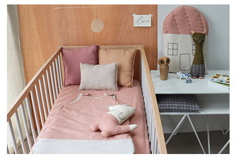 Soft coral check girls nursery by Camomile london