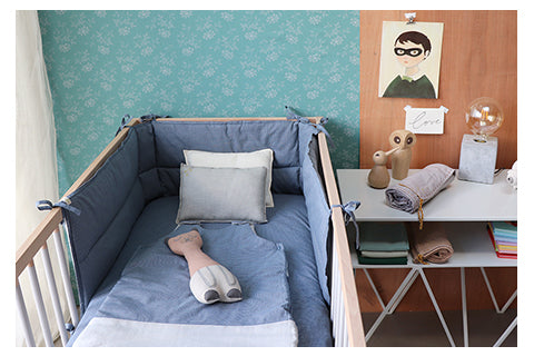 mini check unisex nursery bedding by Camomile London