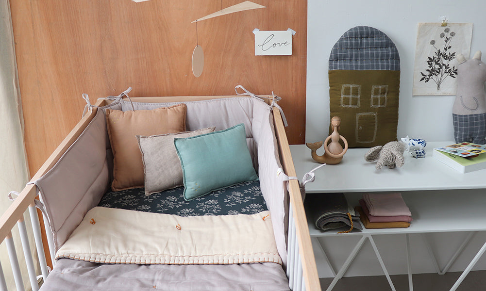 ash bumper and quilt and hanako fitted sheet nursery room by camomile london