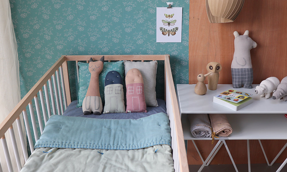 mini check blue and mint nursery bedding by camomile london