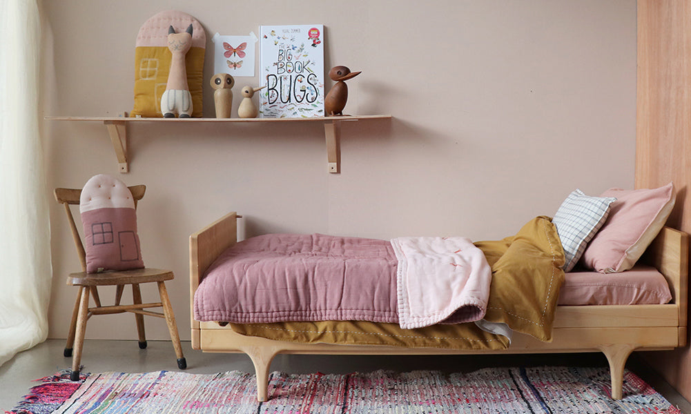 golden and blush pink bedding by Camomile london