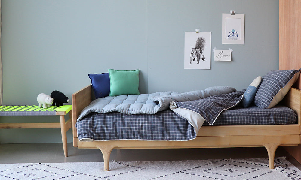 Pebble check stylish boy bedroom by Camomile london