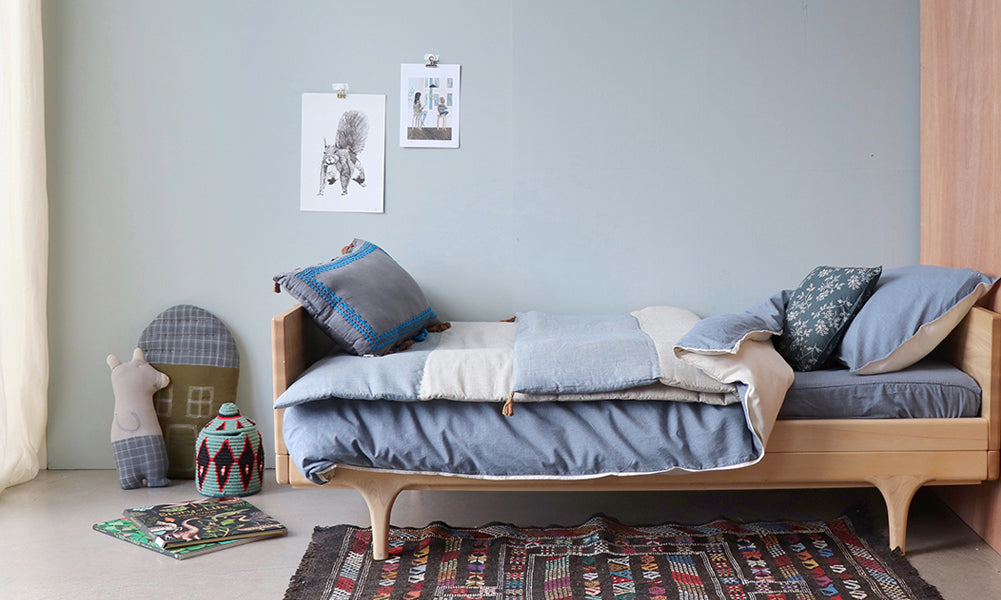 Mini check blue boy bedroom with hand woven Khadi cotton by Camomile london