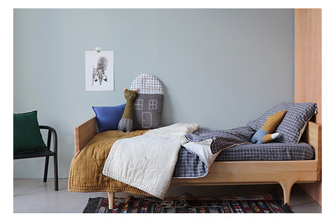 dark pebble grey modern kids bedding set and golden quilt by camomile london