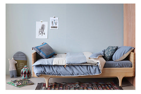 Soft blues and grey kids unisex bedding by camomile london