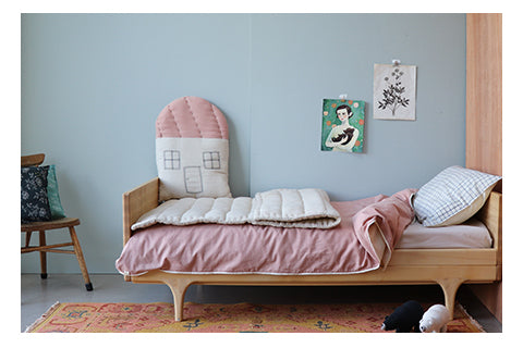 soft pink mini check quality bedding set by Camomile london