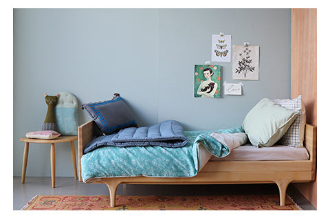 Light Teal floral bedding and soft blues and mint girls bedroom by camomile london