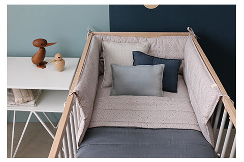 keiko grey spot nursery bedding by camomile london