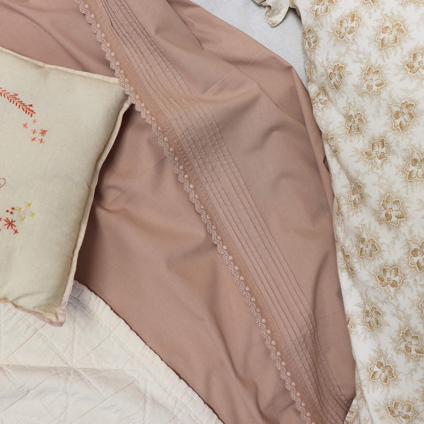 Pin Tuck Embroidered Edge Pillowcase - Clay Pink