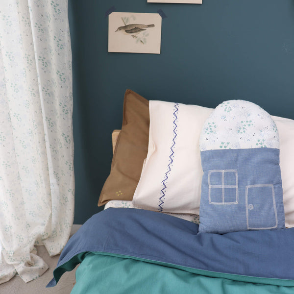Small House cushion - Minako Cornflower