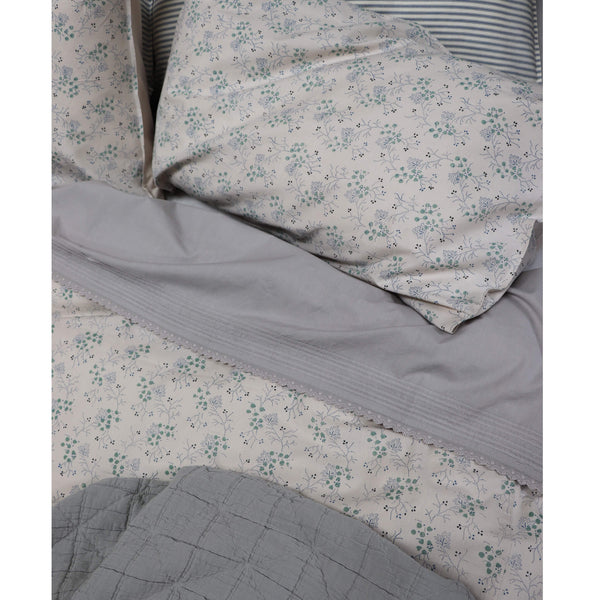 Pin Tuck Flat Sheet - Feather Grey