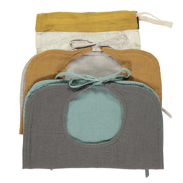 Set of 2 Reversible Muslin Bibs - Ochre/ Ash