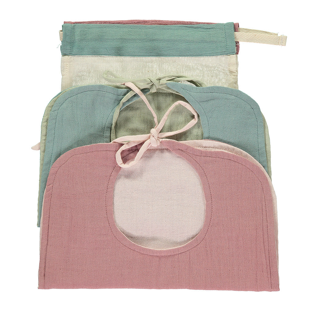 Set of 2 Reversible Muslin Bibs - Light Teal/ Blush
