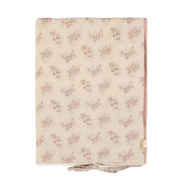 Celia warm stone duvet cover with mink floral print 100% soft cotton bedding by camomile london