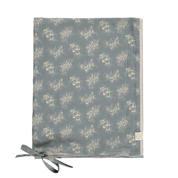 Celia soft blue children's duvet cover with stone floral print organic cotton bedding camomile london