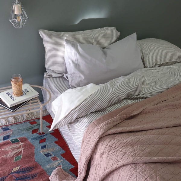 Charcoal Ticking Stripe Duvet Cover