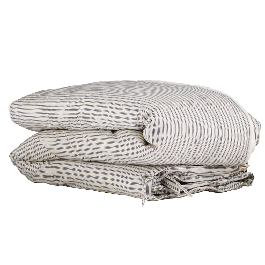 Charcoal Ticking Stripe Duvet Cover - Adult sizes