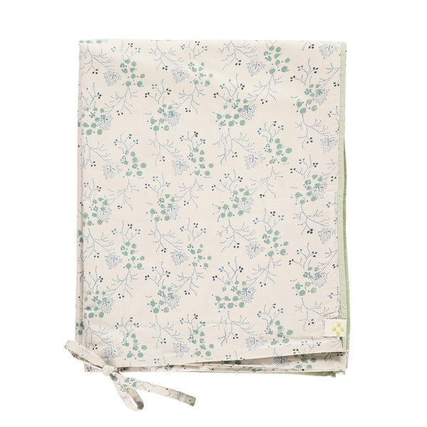 Minako cornflower warm stone duvet cover with mint and blue floral print 100% soft cotton bedding by camomile london