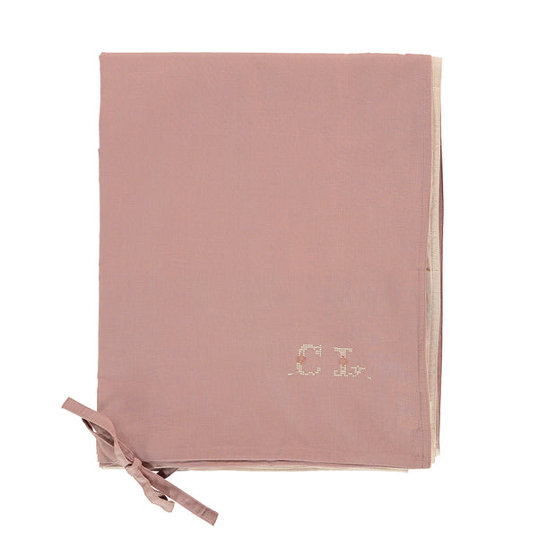 Organic cotton reversible blush and pink duvet cover by camomile london