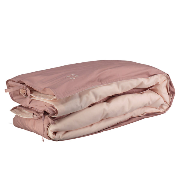 Organic Cotton Reversible Duvet Cover Blush/Pink - Double/EU King