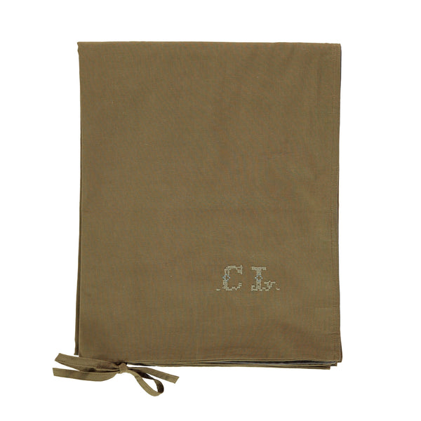 Organic Cotton Reversible Duvet Cover - Olive/Grey