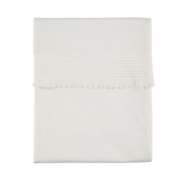 Pin Tuck Embroidered Duvet Cover - Chalk
