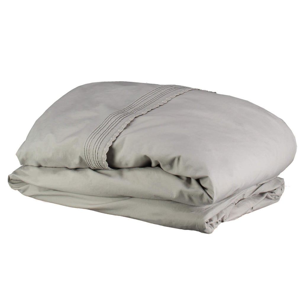 Feather Grey Pin Tuck Embroidered Duvet Cover Chalk - Adult sizes